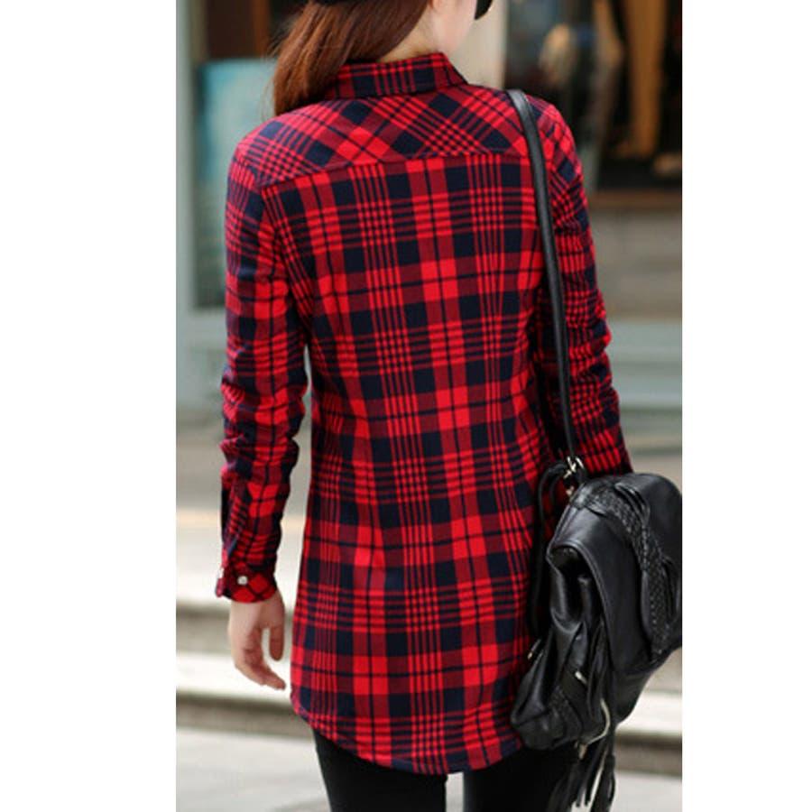 チェックシャツ ワンピース ロング トップス 秋 冬 裏起毛 長袖シャツ シンプル カジュアル タータンチェック 10