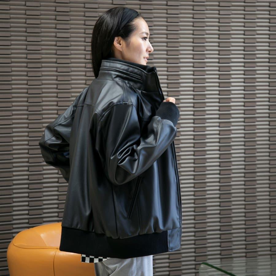 ライダースジャケット ライダース レザージャケット ジャケット アウター レディース  無地 フェイク 秋 冬 9