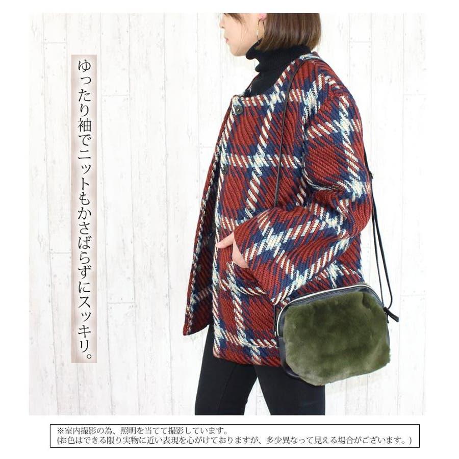 レトロチェック柄 ノーカラー コート 秋 冬 レディース ジャケット ツイード ブラウン ネイビー オーバーサイズ 3323 3