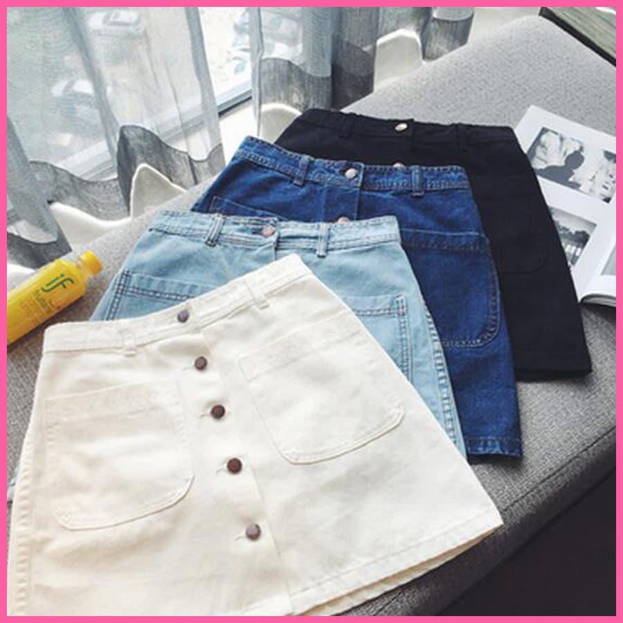 ビッグポケット付きデニムミニスカート☆4色S-XL□デニムスカート ミニ デニム