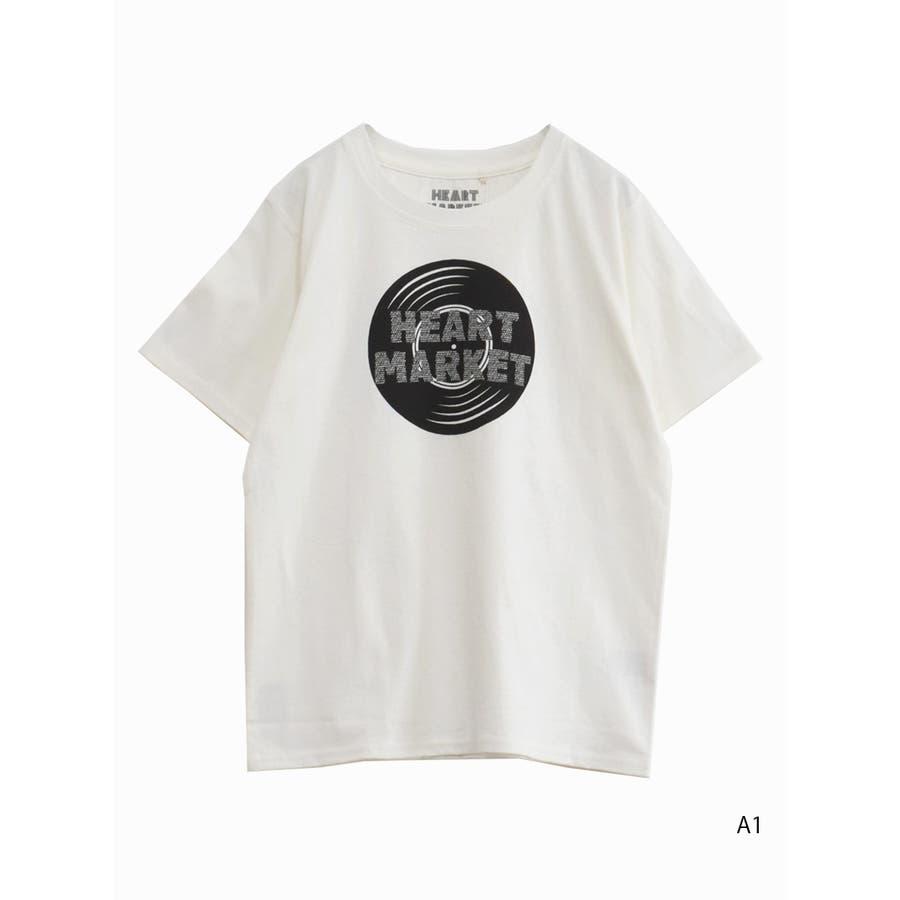 heartプリントTEE<br>レディース トップス 半袖 Tシャツ コットン M L ハート heart 20