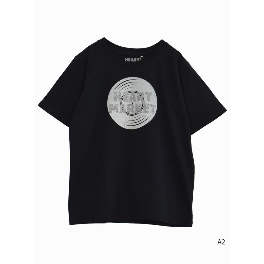 heartプリントTEE<br>レディース トップス 半袖 Tシャツ コットン M L ハート heart 22