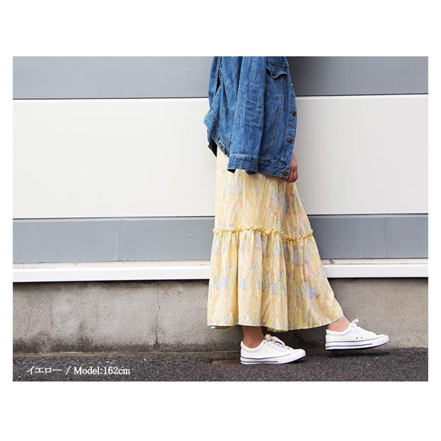 エスニック風柄 シフォンマキシスカート 花柄 ロングスカート マキシスカート ウエストゴムスカートロング丈スカート ボトムス スカート レディース 162478 7