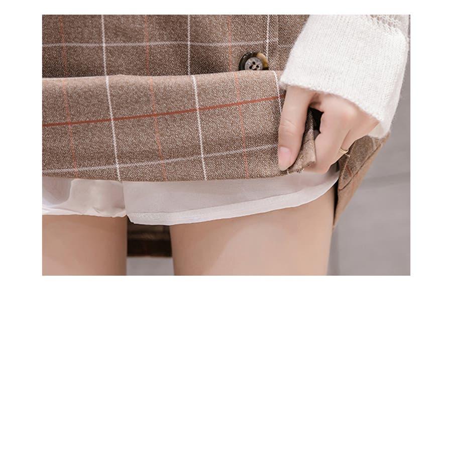 チェック柄ミニスカート 巻きスカート 前ボタン タッタソールチェック ウィンドウペン グレー ベージュ ロングパンツボトムスレディース 婦人服 女性 大人 おしゃれ トレンド カジュアル 楽ちん かわいい 大きいサイズ S M L XL 秋服 冬服新作_sk-10112 6