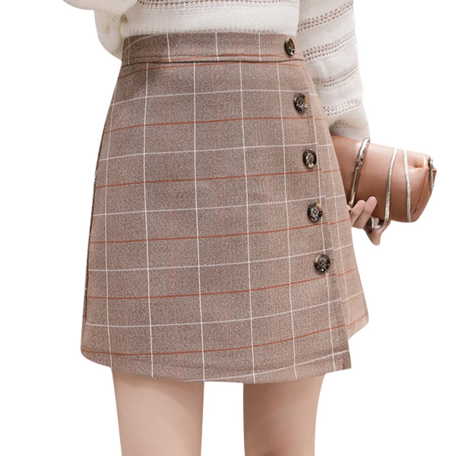 チェック柄ミニスカート 巻きスカート 前ボタン タッタソールチェック ウィンドウペン グレー ベージュ ロングパンツボトムスレディース 婦人服 女性 大人 おしゃれ トレンド カジュアル 楽ちん かわいい 大きいサイズ S M L XL 秋服 冬服新作_sk-10112 30