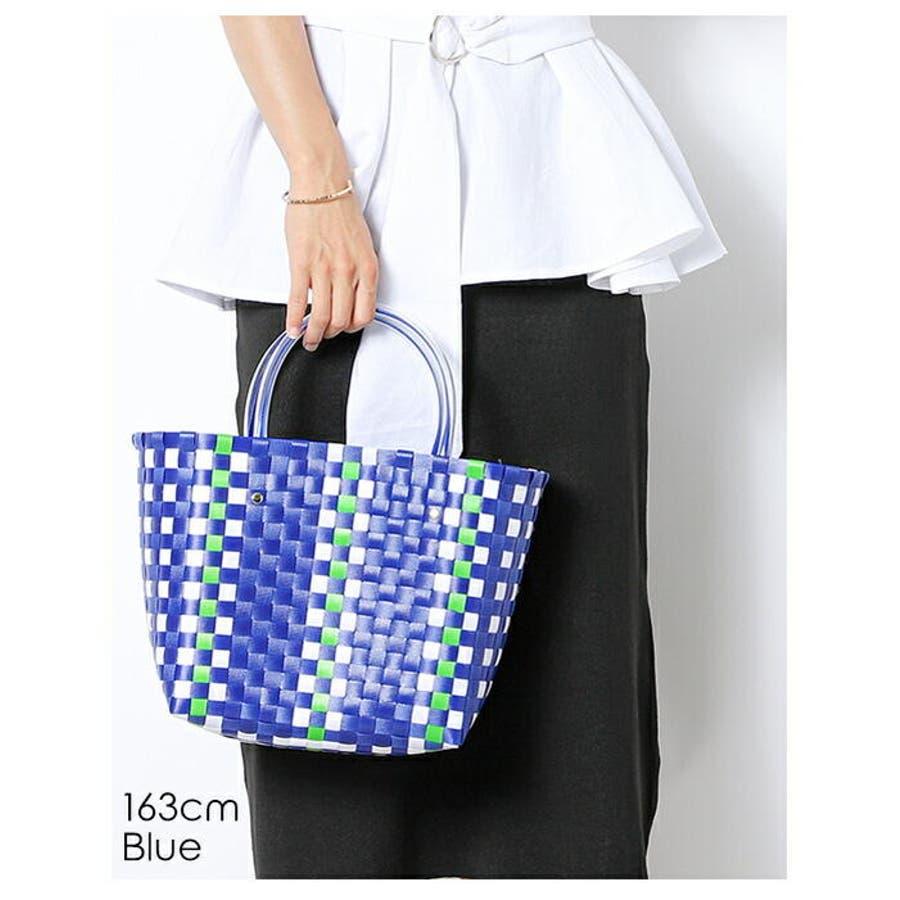 編みバッグ | (かごバッグ レディース メッシュトート カラフル バッグ 編みバッグ 編み込み トート メッシュバッグストローバッグ 肩掛け 手がけ 軽量 ピクニック) 3