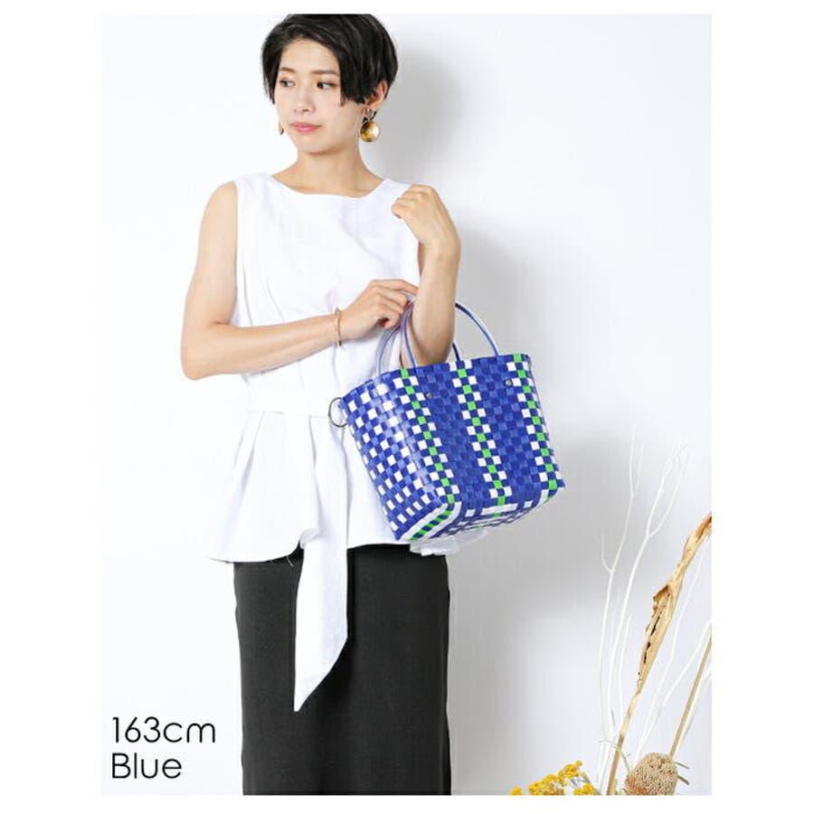 編みバッグ | (かごバッグ レディース メッシュトート カラフル バッグ 編みバッグ 編み込み トート メッシュバッグストローバッグ 肩掛け 手がけ 軽量 ピクニック) 4