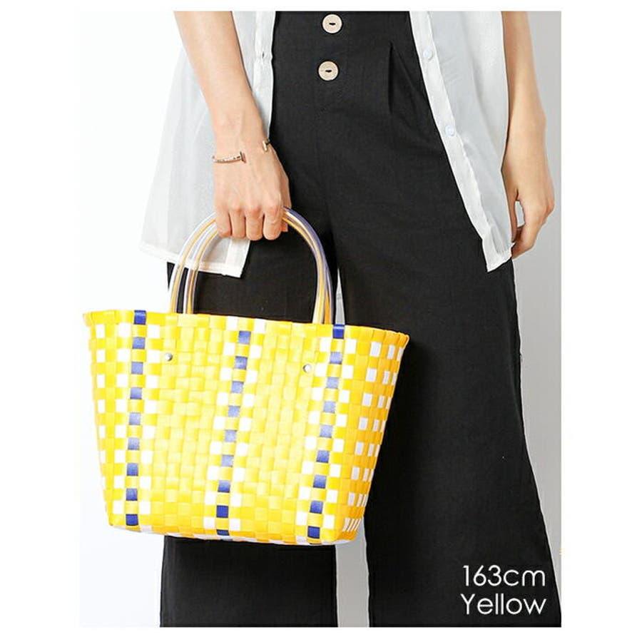 編みバッグ | (かごバッグ レディース メッシュトート カラフル バッグ 編みバッグ 編み込み トート メッシュバッグストローバッグ 肩掛け 手がけ 軽量 ピクニック) 5