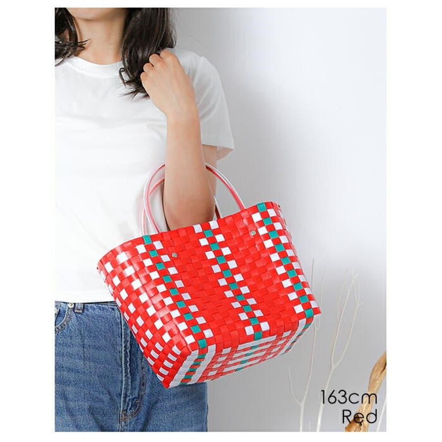 編みバッグ | (かごバッグ レディース メッシュトート カラフル バッグ 編みバッグ 編み込み トート メッシュバッグストローバッグ 肩掛け 手がけ 軽量 ピクニック) 8