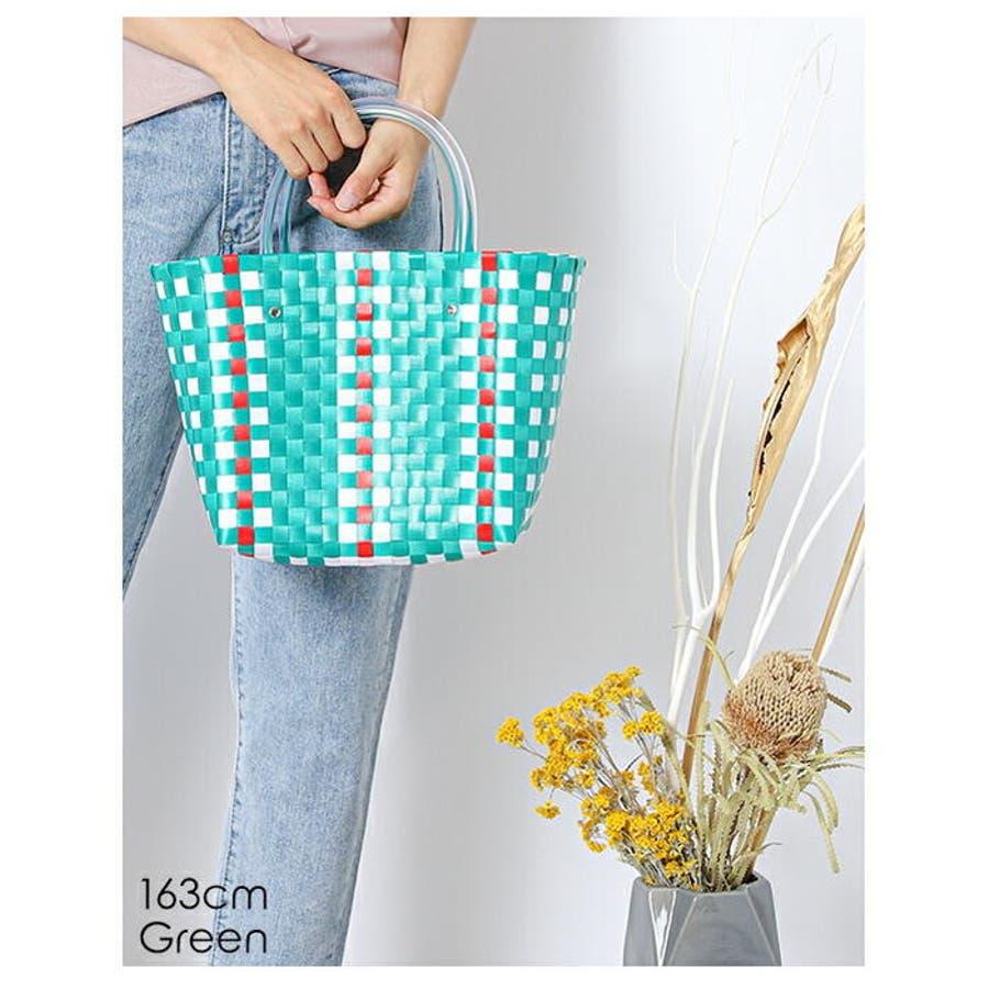 編みバッグ | (かごバッグ レディース メッシュトート カラフル バッグ 編みバッグ 編み込み トート メッシュバッグストローバッグ 肩掛け 手がけ 軽量 ピクニック) 9