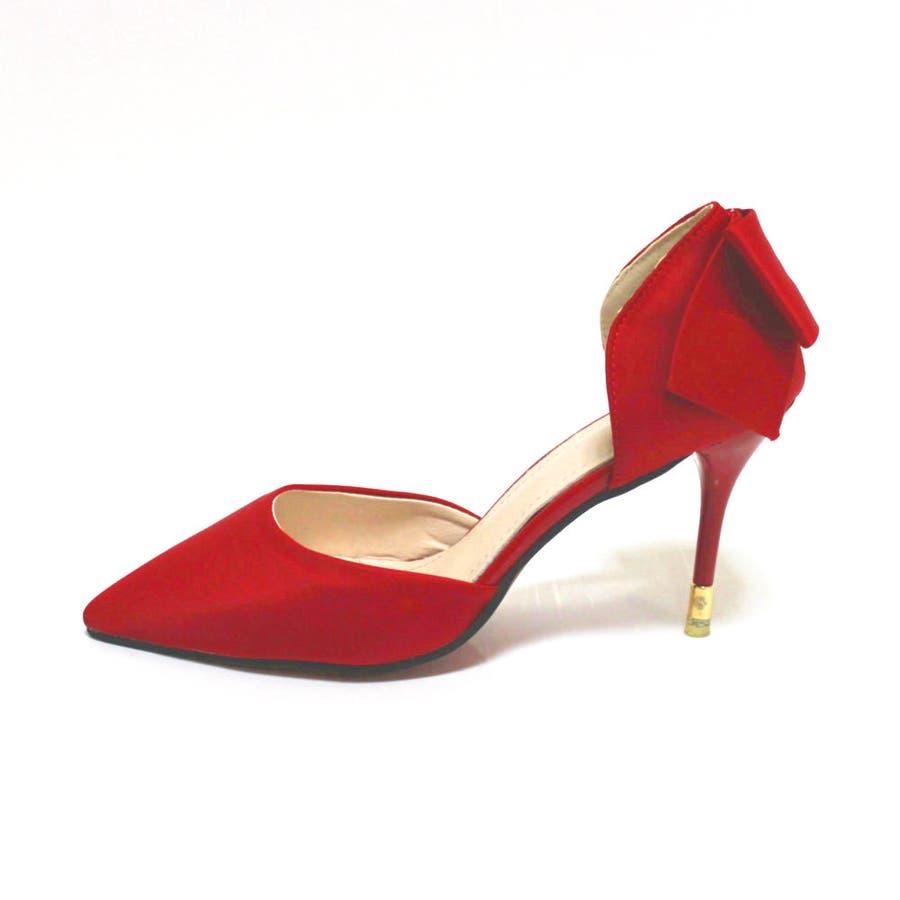 パンプス ヒール ピンヒール リボン ポインテッドトゥ ポインテッド パーティー 結婚式 ベーシック シンプル シューズ 靴レディース 7