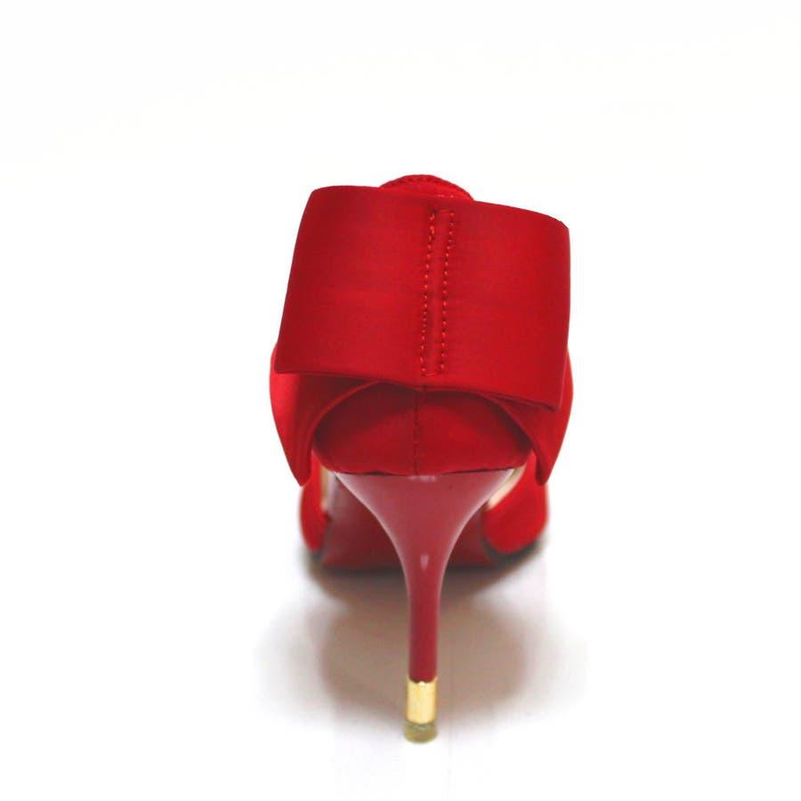 パンプス ヒール ピンヒール リボン ポインテッドトゥ ポインテッド パーティー 結婚式 ベーシック シンプル シューズ 靴レディース 8