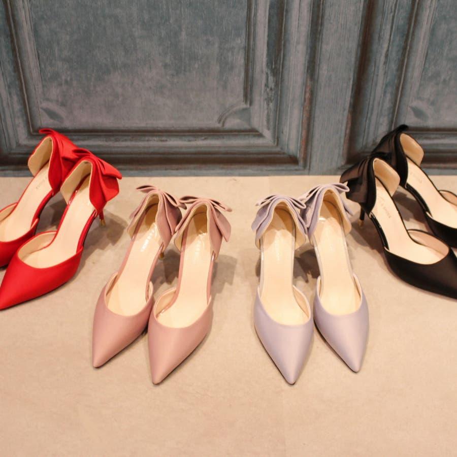パンプス ヒール ピンヒール リボン ポインテッドトゥ ポインテッド パーティー 結婚式 ベーシック シンプル シューズ 靴レディース 10