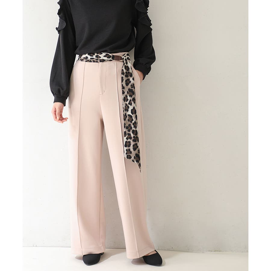 【COLZA(コルザ)】パンツ ズボン レディース ストレート きれい カジュアル 春 春新作 黒 ピンク ベージュ Honeysハニーズ ストレートパンツ 87