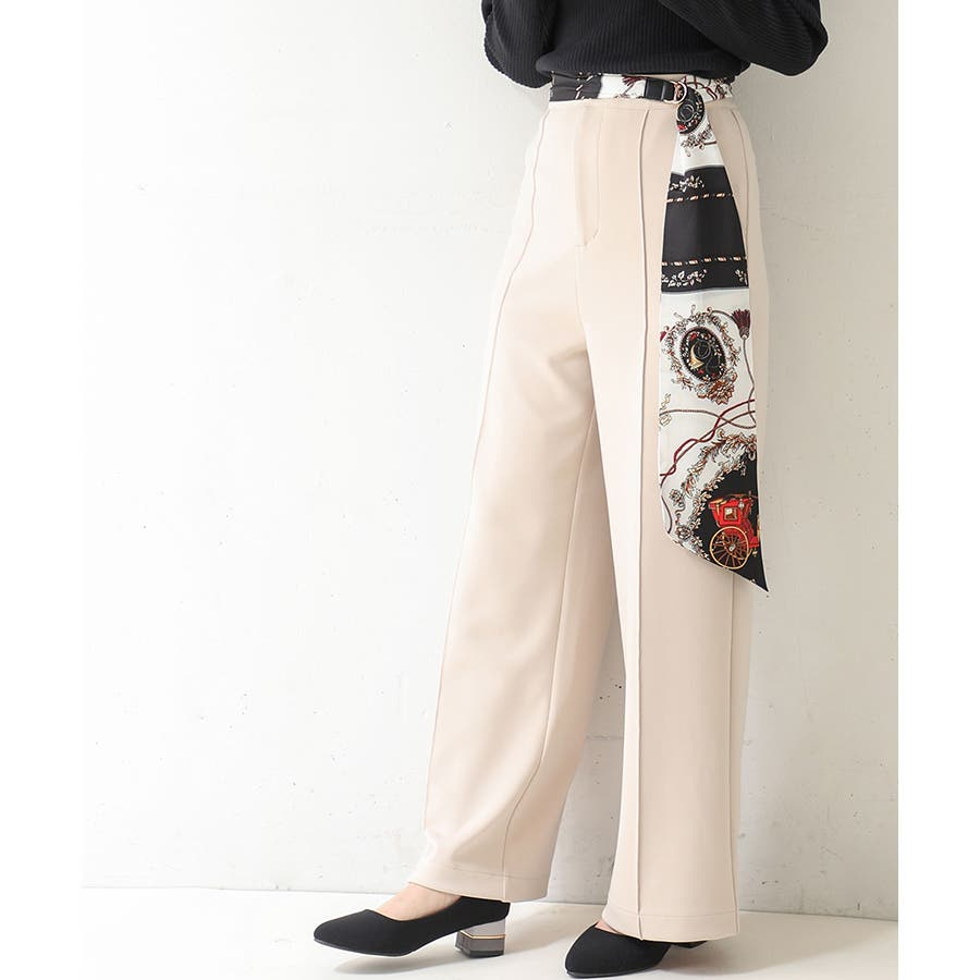 【COLZA(コルザ)】パンツ ズボン レディース ストレート きれい カジュアル 春 春新作 黒 ピンク ベージュ Honeysハニーズ ストレートパンツ 41