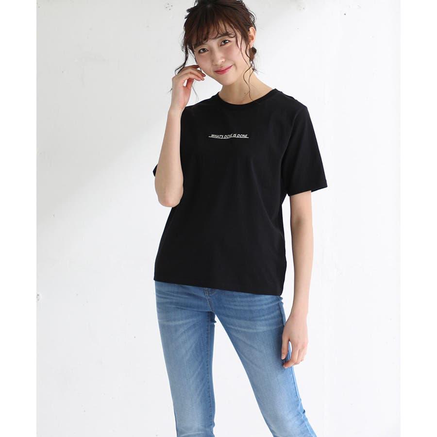 【ハニーズ】半袖ロゴ刺繍Tシャツ 21