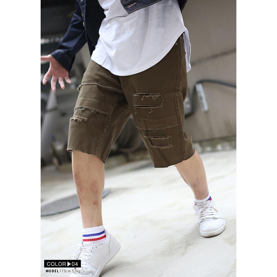 ハーフパンツ デニム DS135 ラスティックダイム RUSTIC DIME ショートパンツ ショーツ 半ズボン メンズ レディース春夏秋冬用 黒 インディゴブルー 白 オリーブ 00000 b系 ヒップホップ ストリート系 ファッション ブランド 服 ギフト 9
