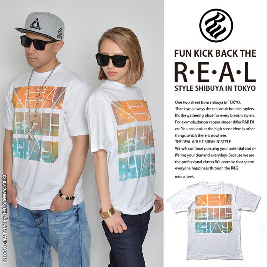 落ち着いた大人の雰囲気 Tシャツ  R0414T07  ROCA WEAR NRC NIGHTS TEE  ロカウェア 半袖 クルーネック BOXロゴ ネオングラデーション M L XL 2XL 大きいサイズ あり 白 正規品 b系 ヒップホップ ストリート系 ファッション メンズレディース 合格