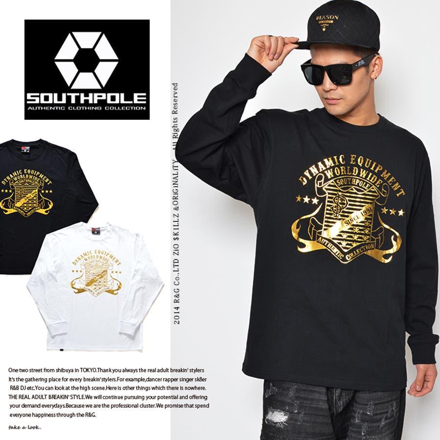 格好いいです メンズファッション通販b系 ヒップホップ ストリート系 ファッション メンズ レディース ロンT  11431056  エンブレム箔プリントロンT サウスポール SOUTH POLE 長袖Tシャツ L XL 2XL 3XL 大きいサイズ 正規品 獄死