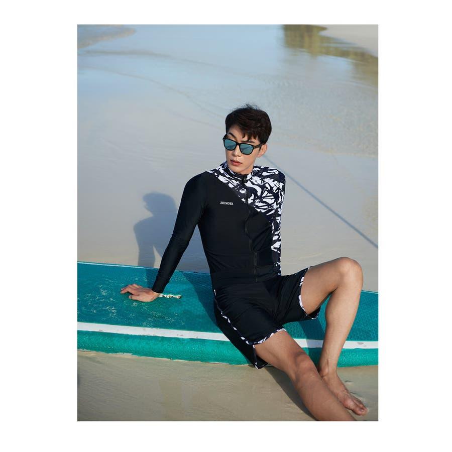 フィットネス水着 水着 メンズ ラッシュガード 上下セット 長袖 サーフパンツ フィットネス水着 おしゃれ 日焼け防止 スポーツスイムウェア 練習用 競泳水着 海パンツ ジム 水泳 かっこいい 着脱簡単 ブランド 大人 水陸両用 フィットネス メンズM/L/LL 7