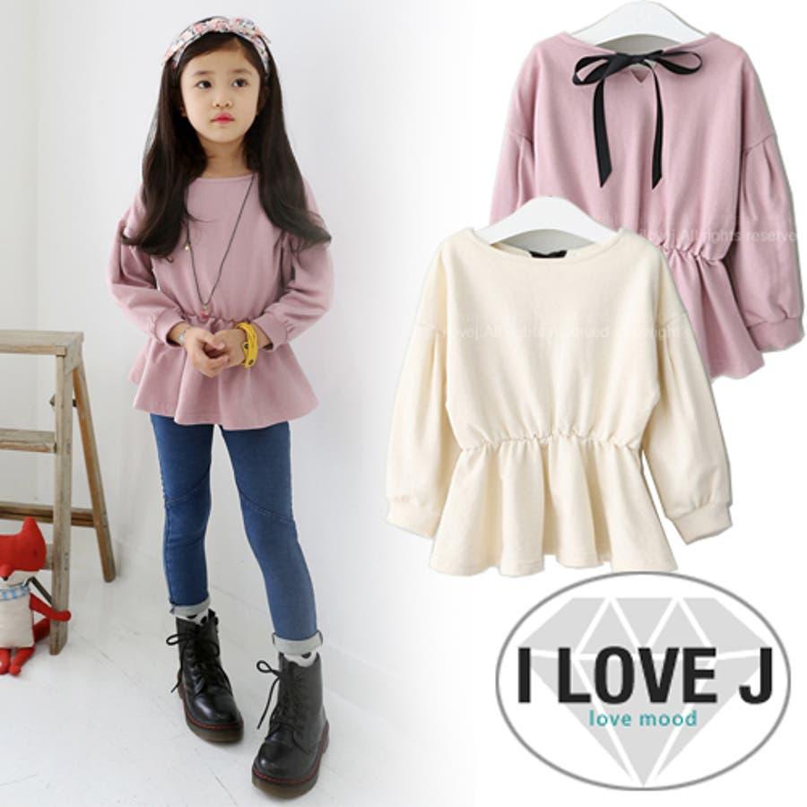 fe931fe814801 リボンシャーリングTシャツ(2色) 秋 韓国子供服 キッズ