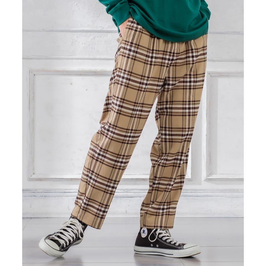 チェック ワイド パンツ メンズ レディース チェック柄 テーパード イージーパンツ スラックス スリム 細身 スーツimproves 41