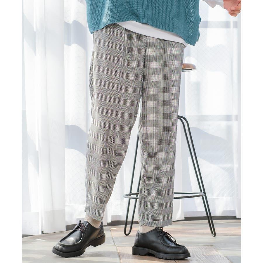 チェック ワイド パンツ メンズ レディース チェック柄 テーパード イージーパンツ スラックス スリム 細身 スーツimproves 108