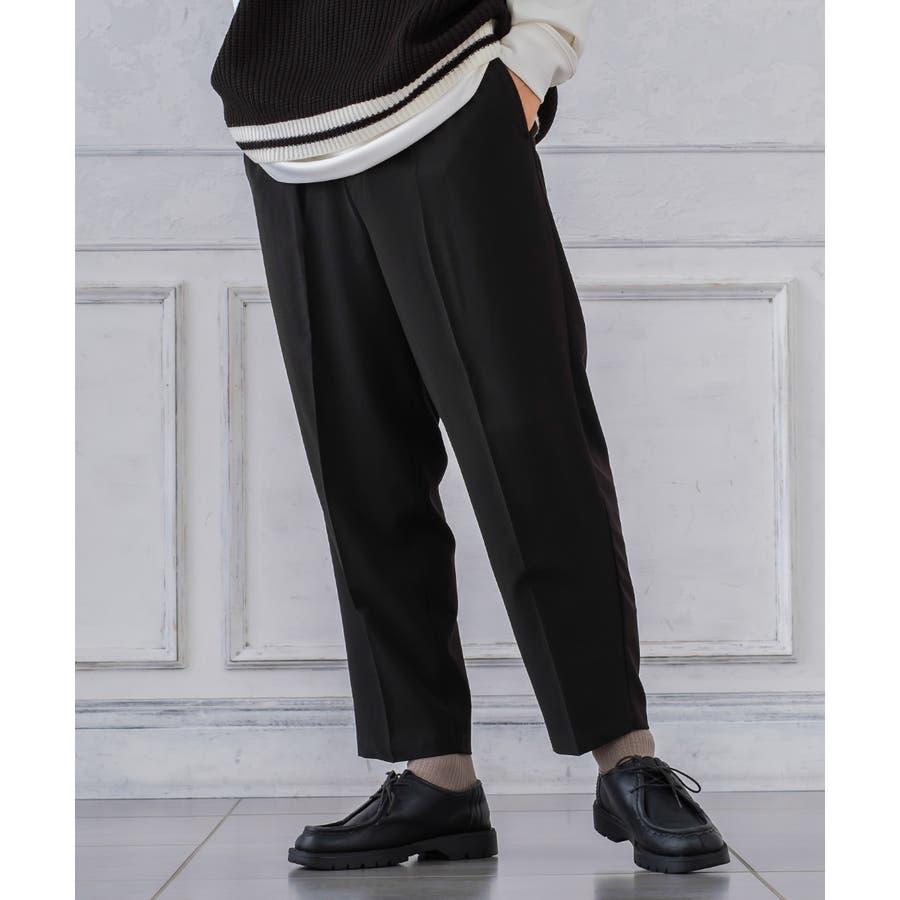 チェック ワイド パンツ メンズ レディース チェック柄 テーパード イージーパンツ スラックス スリム 細身 スーツimproves 21