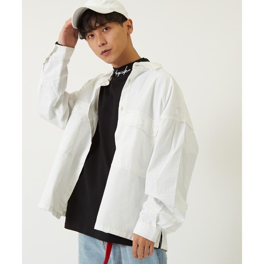 ワイドシャツ メンズ レディース ステッチ配色 ビッグシルエット ドロップショルダー ゆったり 大きいサイズ 長袖 無地 カバーオールシャツジャケット 青 黒 白 ストリートファション ストリート系 韓国ファッション improves 16