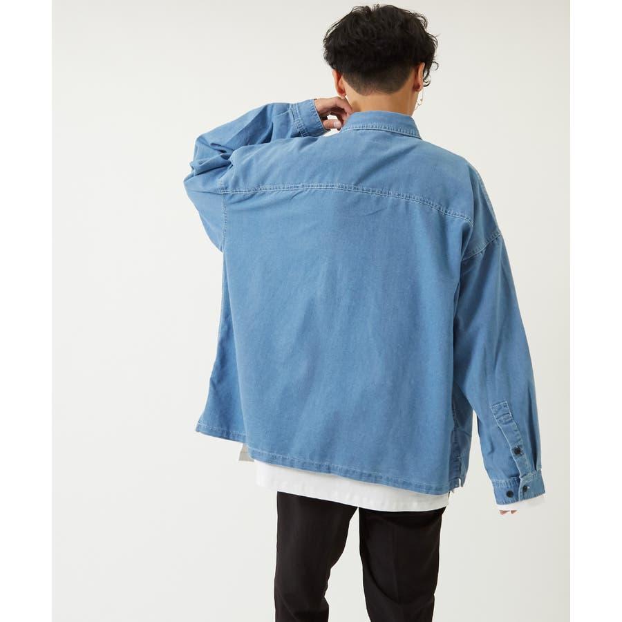 ワイドシャツ メンズ レディース ステッチ配色 ビッグシルエット ドロップショルダー ゆったり 大きいサイズ 長袖 無地 カバーオールシャツジャケット 青 黒 白 ストリートファション ストリート系 韓国ファッション improves 3