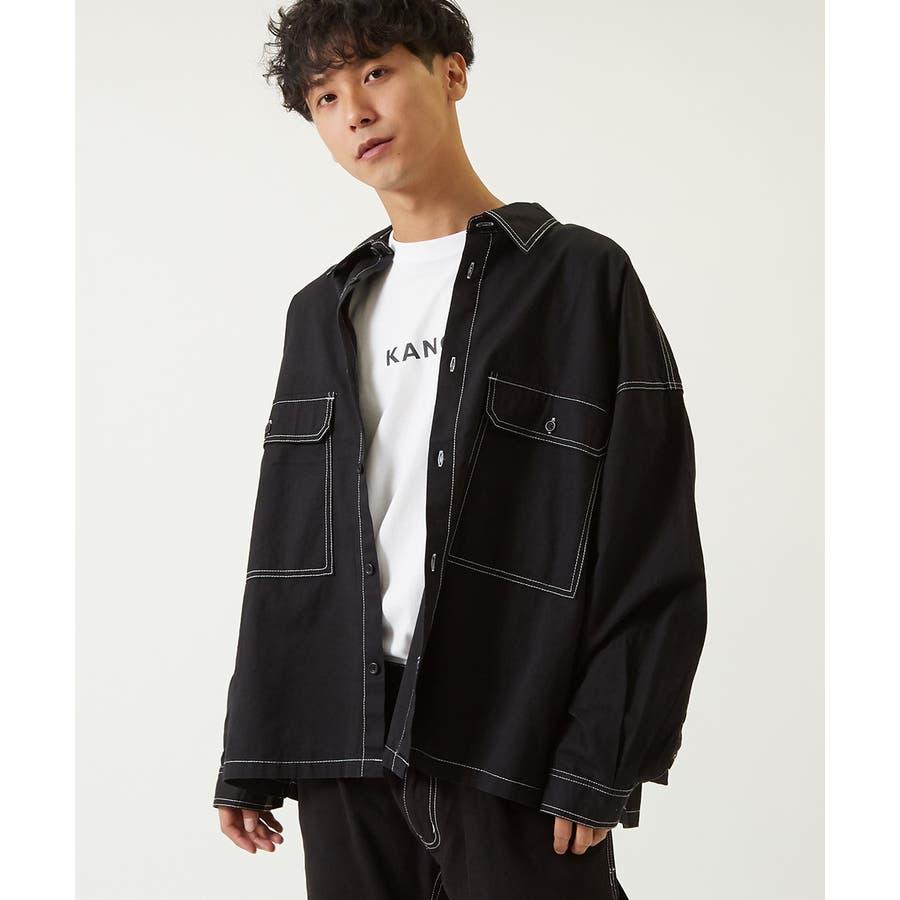 ワイドシャツ メンズ レディース ステッチ配色 ビッグシルエット ドロップショルダー ゆったり 大きいサイズ 長袖 無地 カバーオールシャツジャケット 青 黒 白 ストリートファション ストリート系 韓国ファッション improves 21