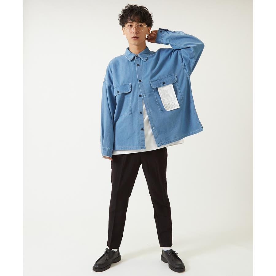 ワイドシャツ メンズ レディース ステッチ配色 ビッグシルエット ドロップショルダー ゆったり 大きいサイズ 長袖 無地 カバーオールシャツジャケット 青 黒 白 ストリートファション ストリート系 韓国ファッション improves 4