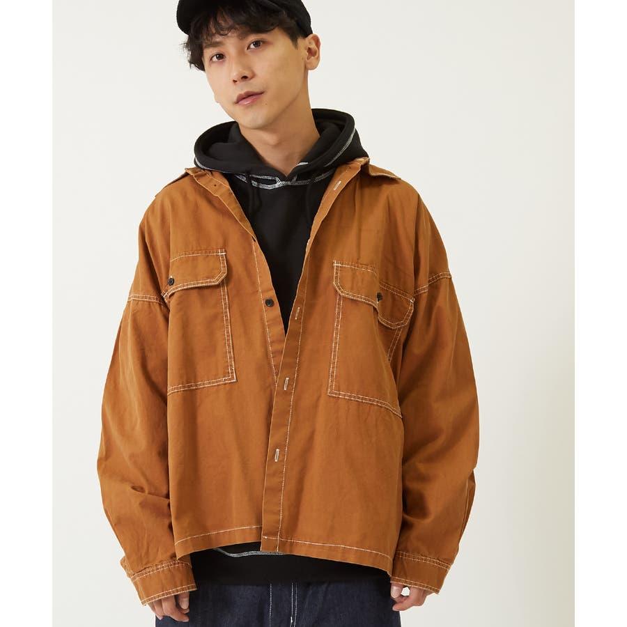 ワイドシャツ メンズ レディース ステッチ配色 ビッグシルエット ドロップショルダー ゆったり 大きいサイズ 長袖 無地 カバーオールシャツジャケット 青 黒 白 ストリートファション ストリート系 韓国ファッション improves 29