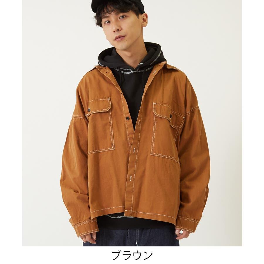 ワイドシャツ メンズ レディース ステッチ配色 ビッグシルエット ドロップショルダー ゆったり 大きいサイズ 長袖 無地 カバーオールシャツジャケット 青 黒 白 ストリートファション ストリート系 韓国ファッション improves 5