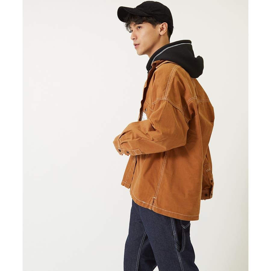 ワイドシャツ メンズ レディース ステッチ配色 ビッグシルエット ドロップショルダー ゆったり 大きいサイズ 長袖 無地 カバーオールシャツジャケット 青 黒 白 ストリートファション ストリート系 韓国ファッション improves 6