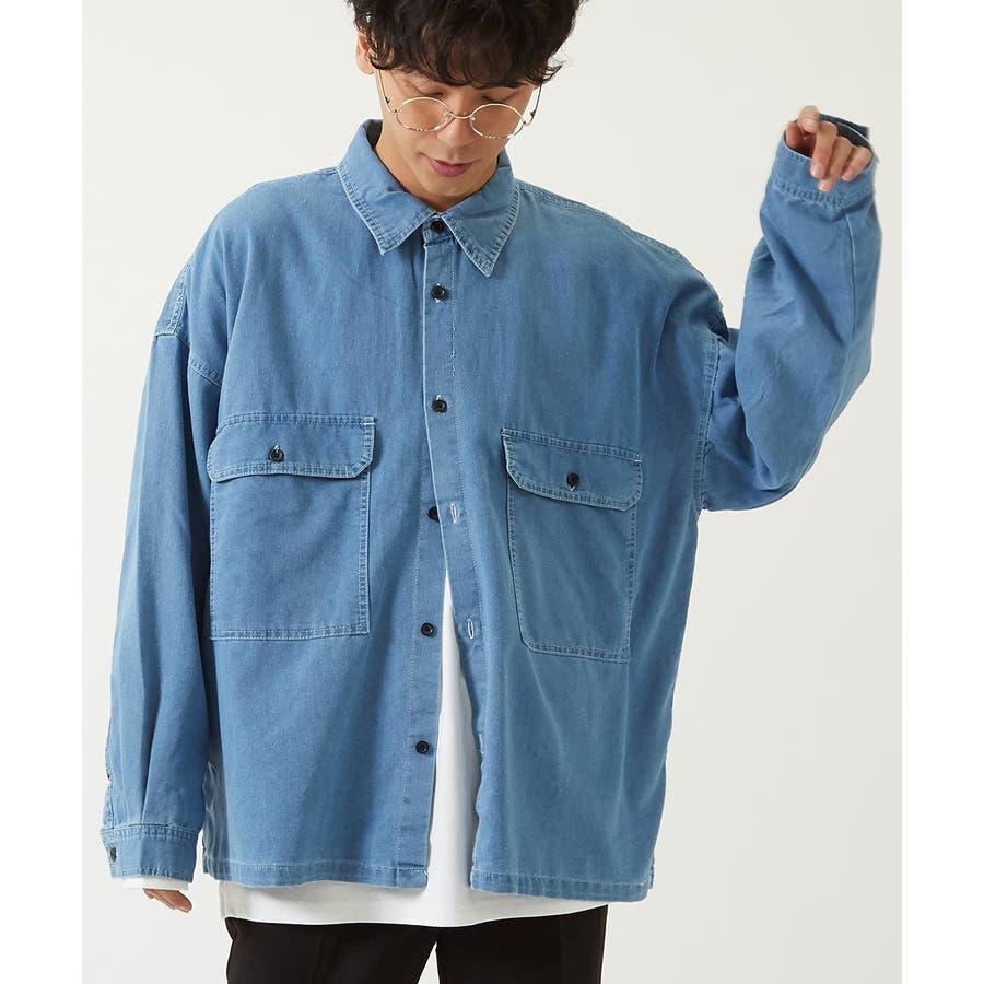 ワイドシャツ メンズ レディース ステッチ配色 ビッグシルエット ドロップショルダー ゆったり 大きいサイズ 長袖 無地 カバーオールシャツジャケット 青 黒 白 ストリートファション ストリート系 韓国ファッション improves 59