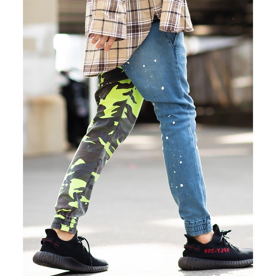 ジョガーパンツ メンズ レディース 迷彩 ネオン スリム 細身 スキニー ジョガー パンツ バイカラー デニム ジーンズ カモフラカモフラージュ 迷彩柄 カモフラ柄 ダンス ストリート系 ストリートファッション improves 3
