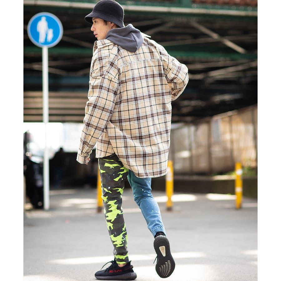 ジョガーパンツ メンズ レディース 迷彩 ネオン スリム 細身 スキニー ジョガー パンツ バイカラー デニム ジーンズ カモフラカモフラージュ 迷彩柄 カモフラ柄 ダンス ストリート系 ストリートファッション improves 6