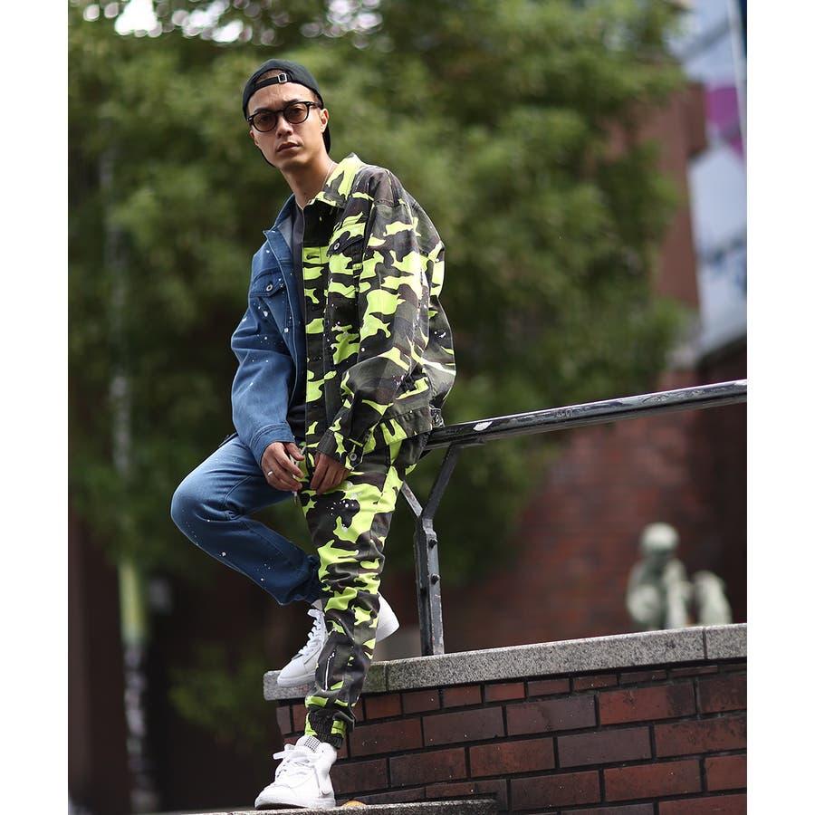 ジョガーパンツ メンズ レディース 迷彩 ネオン スリム 細身 スキニー ジョガー パンツ バイカラー デニム ジーンズ カモフラカモフラージュ 迷彩柄 カモフラ柄 ダンス ストリート系 ストリートファッション improves 7