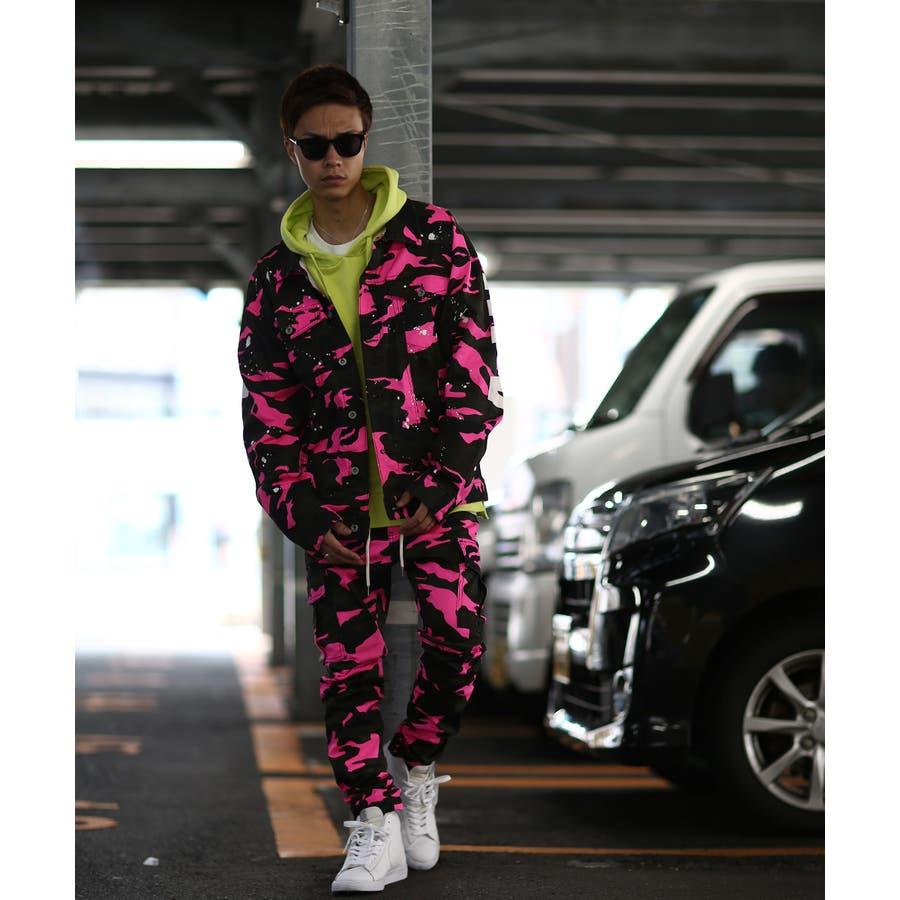 カーゴパンツ メンズ レディース 迷彩 ネオン スリム 細身 スキニー ワーク パンツ スキニーパンツ ストレッチ ストレッチパンツカモフラ カモフラージュ 迷彩柄 カモフラ柄 ダンス ストリート系 ストリートファッション improves 4
