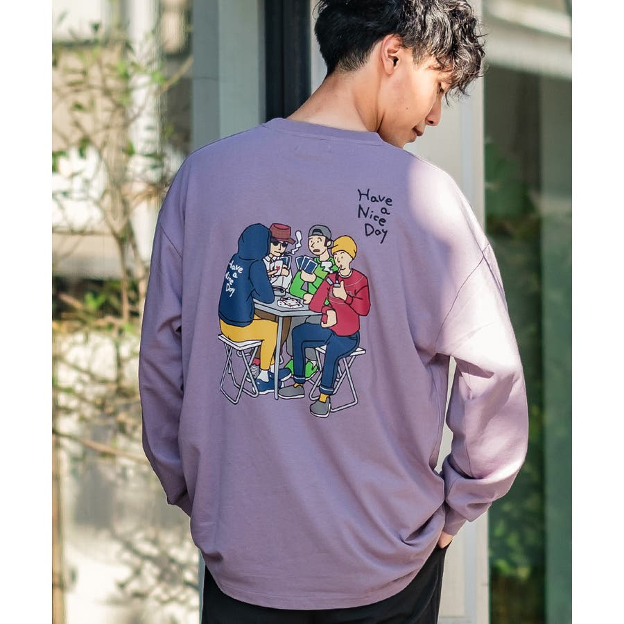 Tシャツ メンズ レディース ビッグTシャツ 長袖 グラフィック プリントTシャツ クルーネック ビッグシルエット オーバーサイズゆったり 大きいサイズ ロンT カットソー 黒 白 ストリート系 ストリートファッション 韓国ファッション improves 77