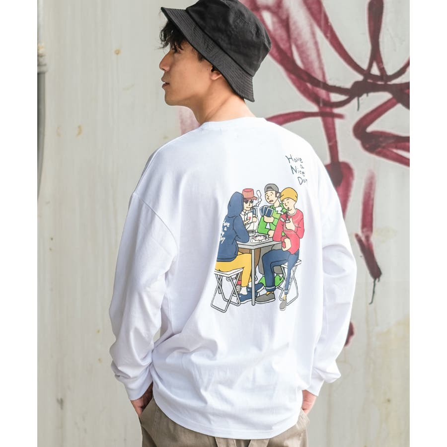 Tシャツ メンズ レディース ビッグTシャツ 長袖 グラフィック プリントTシャツ クルーネック ビッグシルエット オーバーサイズゆったり 大きいサイズ ロンT カットソー 黒 白 ストリート系 ストリートファッション 韓国ファッション improves 16