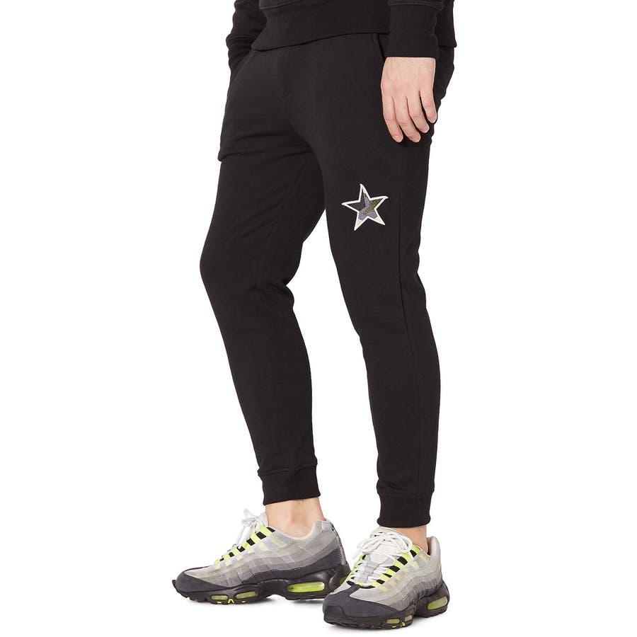星ワッペン スウェットパンツ メンズ レディース スリム スエットパンツ ジョガーパンツ スウェット ジャージ セットアップ 上下可能イージーパンツ テーパード グレー ブラック 黒 サーフ系 カジュアル ストリート系 メンズファッションインプローブスimproves 3
