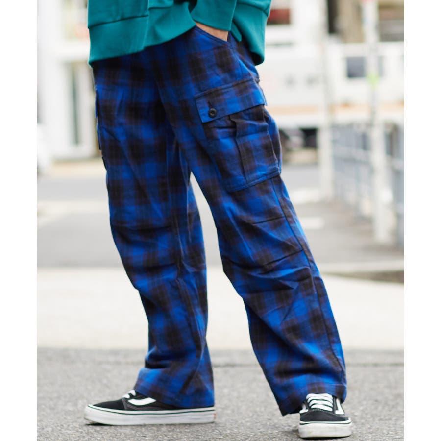 ワイドカーゴパンツ メンズ ワイドパンツ 柄 チェックパンツ チェック パンツ ダンス 赤 チェック柄パンツ タータンチェックヘビーネル レッド ブルー ブラック ホワイト 青 黒 白 韓国 ファッション improves 59