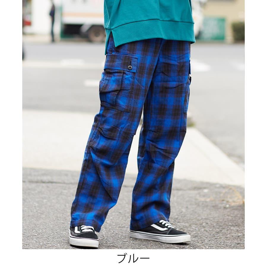 ワイドカーゴパンツ メンズ ワイドパンツ 柄 チェックパンツ チェック パンツ ダンス 赤 チェック柄パンツ タータンチェックヘビーネル レッド ブルー ブラック ホワイト 青 黒 白 韓国 ファッション improves 2