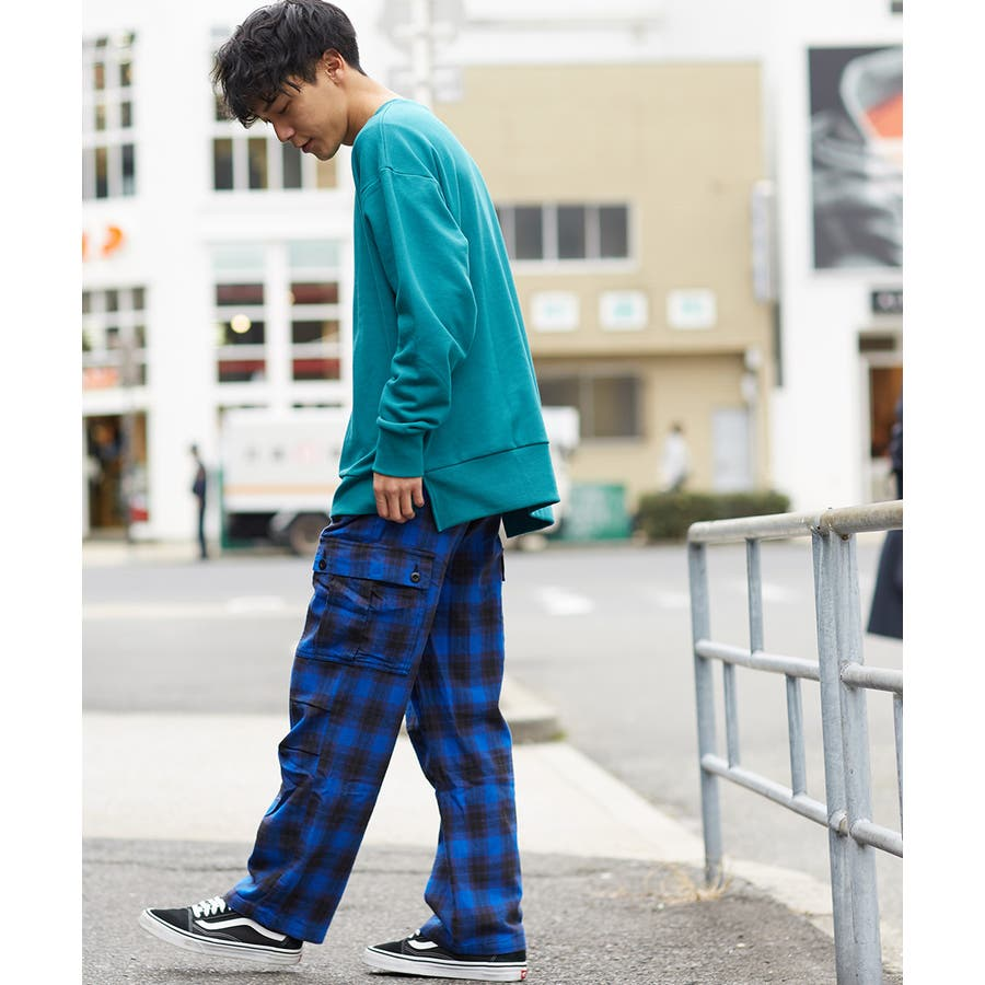 ワイドカーゴパンツ メンズ ワイドパンツ 柄 チェックパンツ チェック パンツ ダンス 赤 チェック柄パンツ タータンチェックヘビーネル レッド ブルー ブラック ホワイト 青 黒 白 韓国 ファッション improves 3