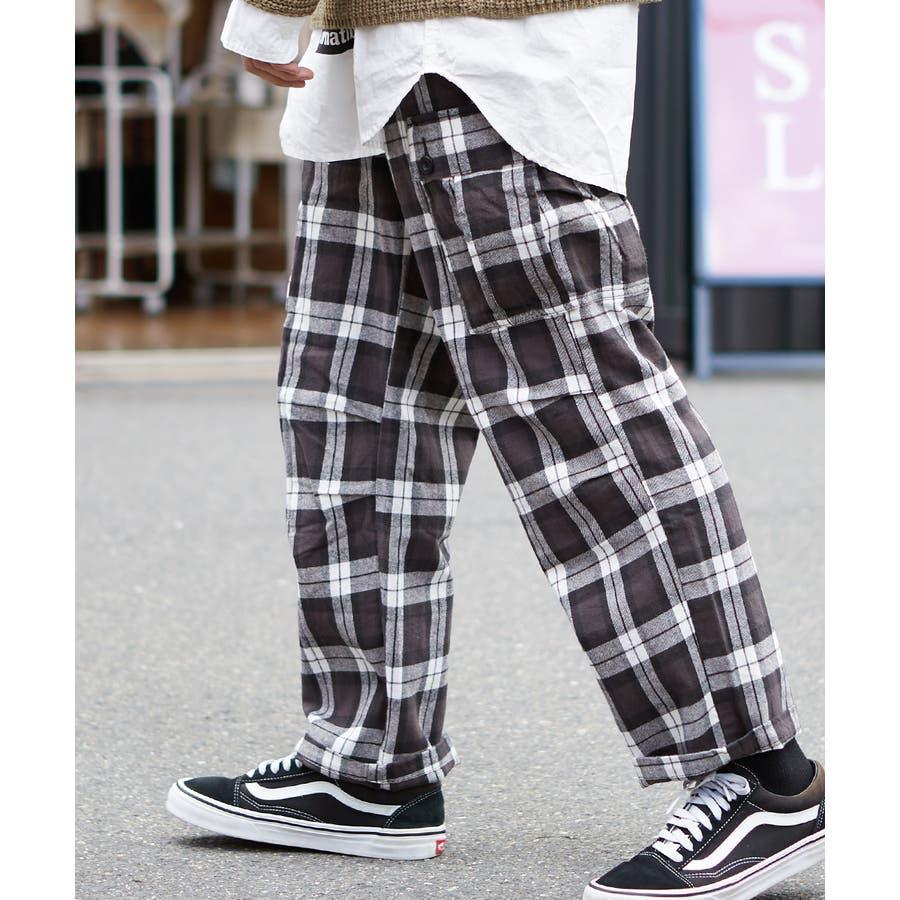 ワイドカーゴパンツ メンズ ワイドパンツ 柄 チェックパンツ チェック パンツ ダンス 赤 チェック柄パンツ タータンチェックヘビーネル レッド ブルー ブラック ホワイト 青 黒 白 韓国 ファッション improves 21