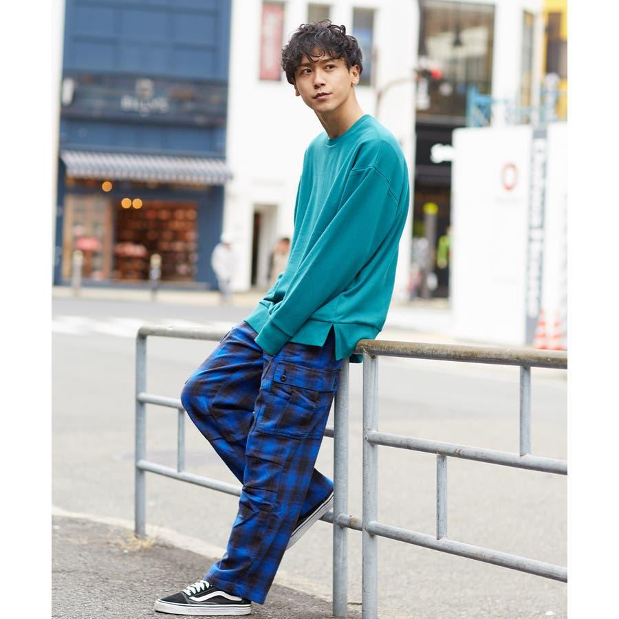 ワイドカーゴパンツ メンズ ワイドパンツ 柄 チェックパンツ チェック パンツ ダンス 赤 チェック柄パンツ タータンチェックヘビーネル レッド ブルー ブラック ホワイト 青 黒 白 韓国 ファッション improves 4
