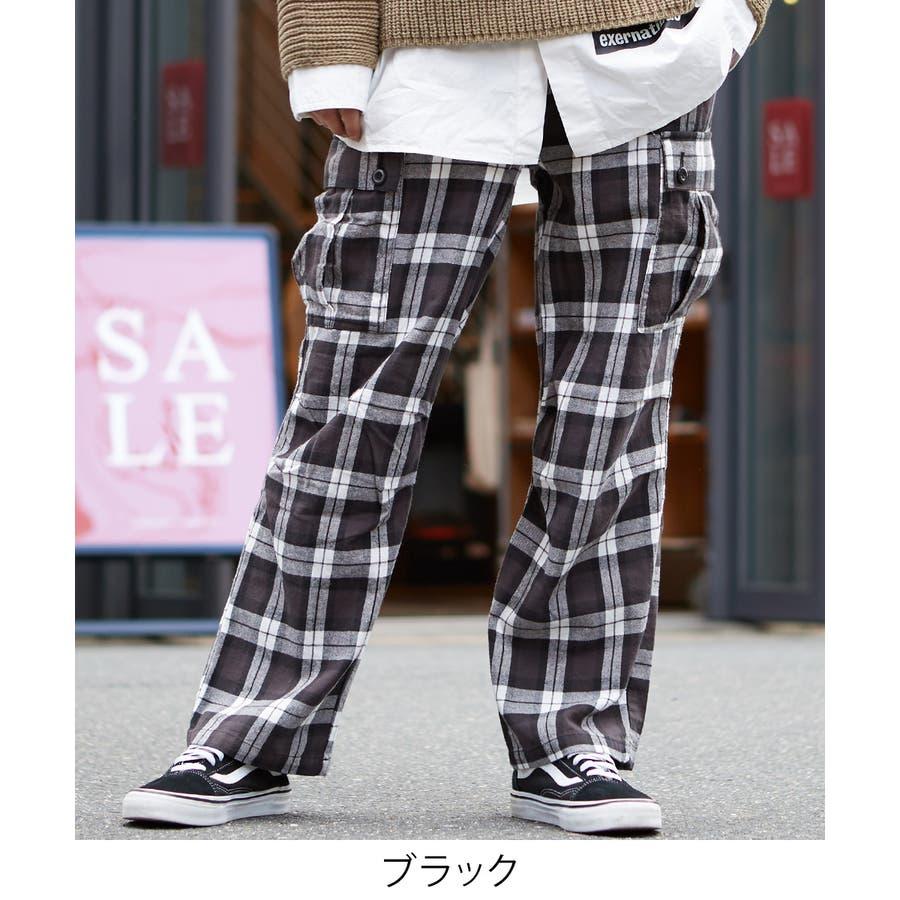 ワイドカーゴパンツ メンズ ワイドパンツ 柄 チェックパンツ チェック パンツ ダンス 赤 チェック柄パンツ タータンチェックヘビーネル レッド ブルー ブラック ホワイト 青 黒 白 韓国 ファッション improves 5