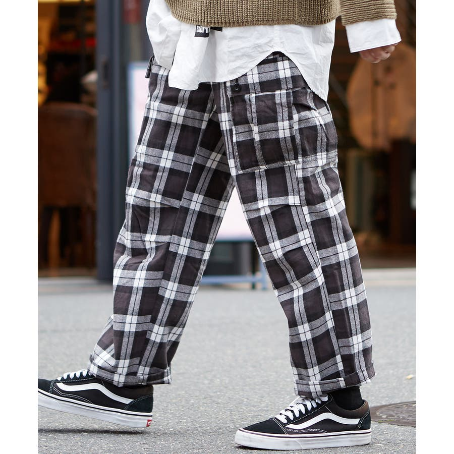 ワイドカーゴパンツ メンズ ワイドパンツ 柄 チェックパンツ チェック パンツ ダンス 赤 チェック柄パンツ タータンチェックヘビーネル レッド ブルー ブラック ホワイト 青 黒 白 韓国 ファッション improves 6
